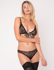 Leopard Print Triangle Bow Bra - Mimi Holliday Luxury Lingerie