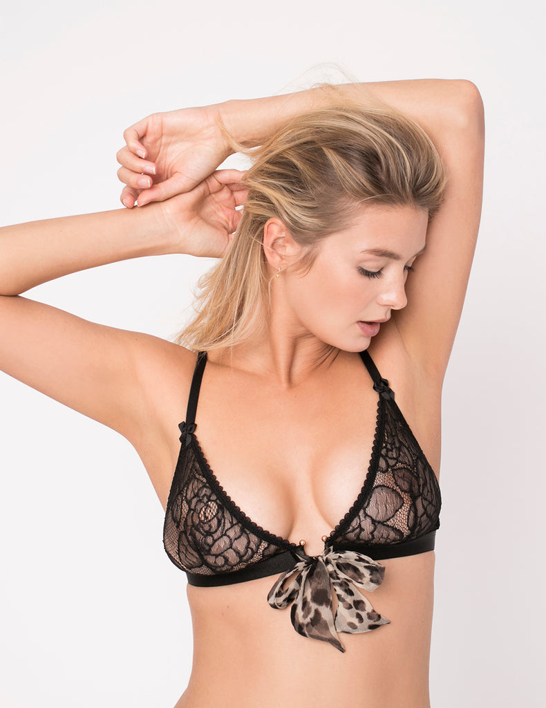 Wild Thing Triangle Bow Bra Naturlig Leopard