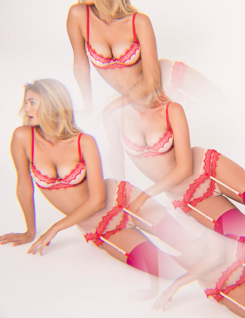 Strawberry Split Tulle and Silk Push-Up Bra