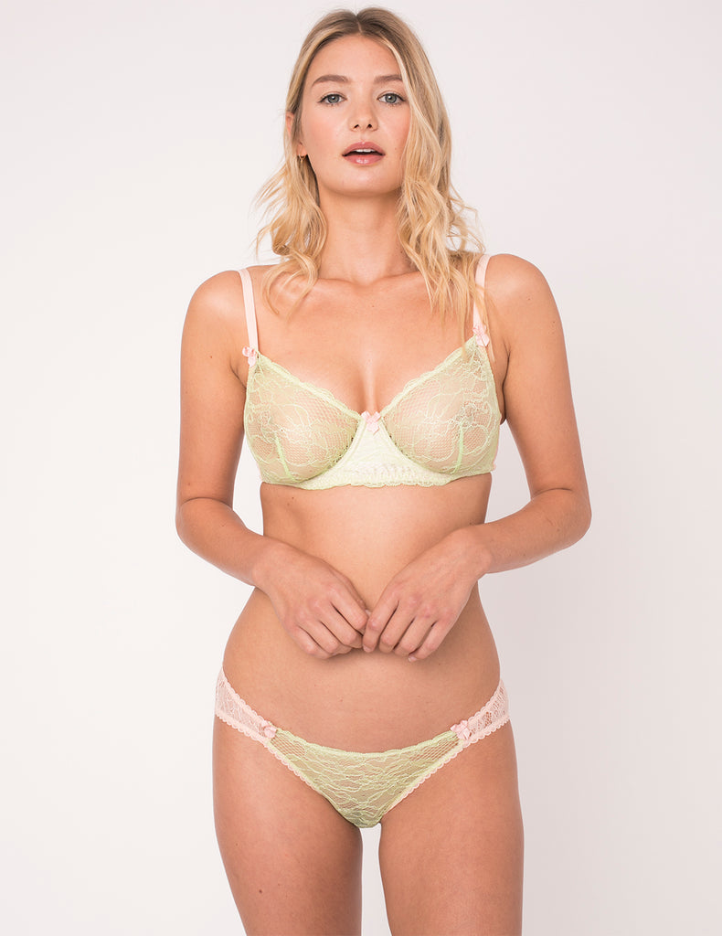 Green & Peach Lace Brief Knickers | Mimi Holliday Designer Lingerie