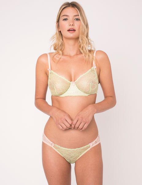 Green & Peach Lace Comfort Bra | Mimi Holliday Sexy Undertøy