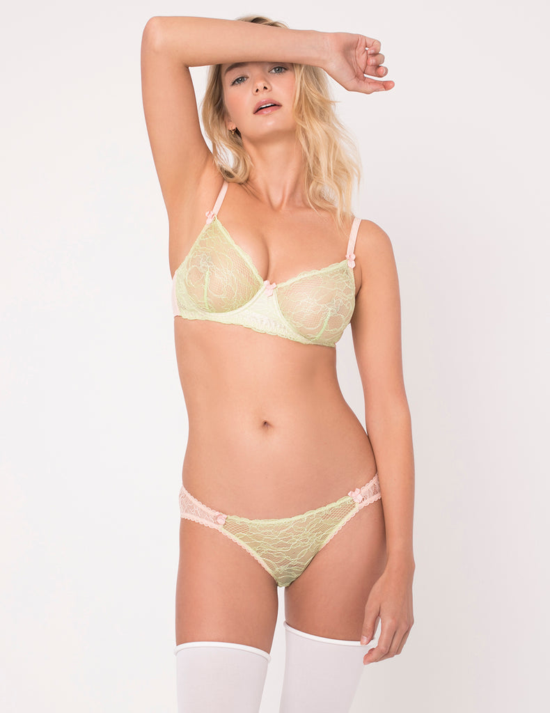 Green & Peach Lace Brief Knickers | Mimi Holliday Luxury Lingerie