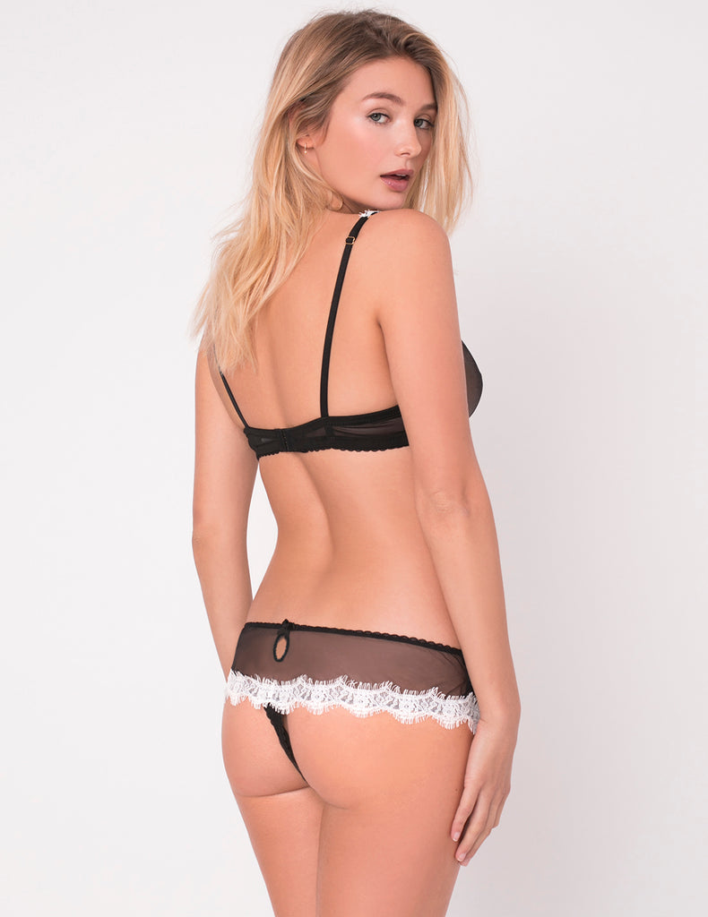 Black & White Lace Boyshort Knickers | Mimi Holliday Designer Lingerie