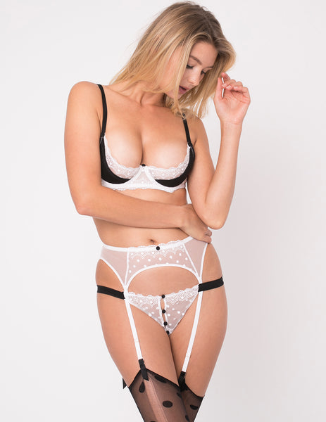 Black & White Lace & Silk Ouvert Half Cup Bra - Mimi Holliday Luxury Lingerie