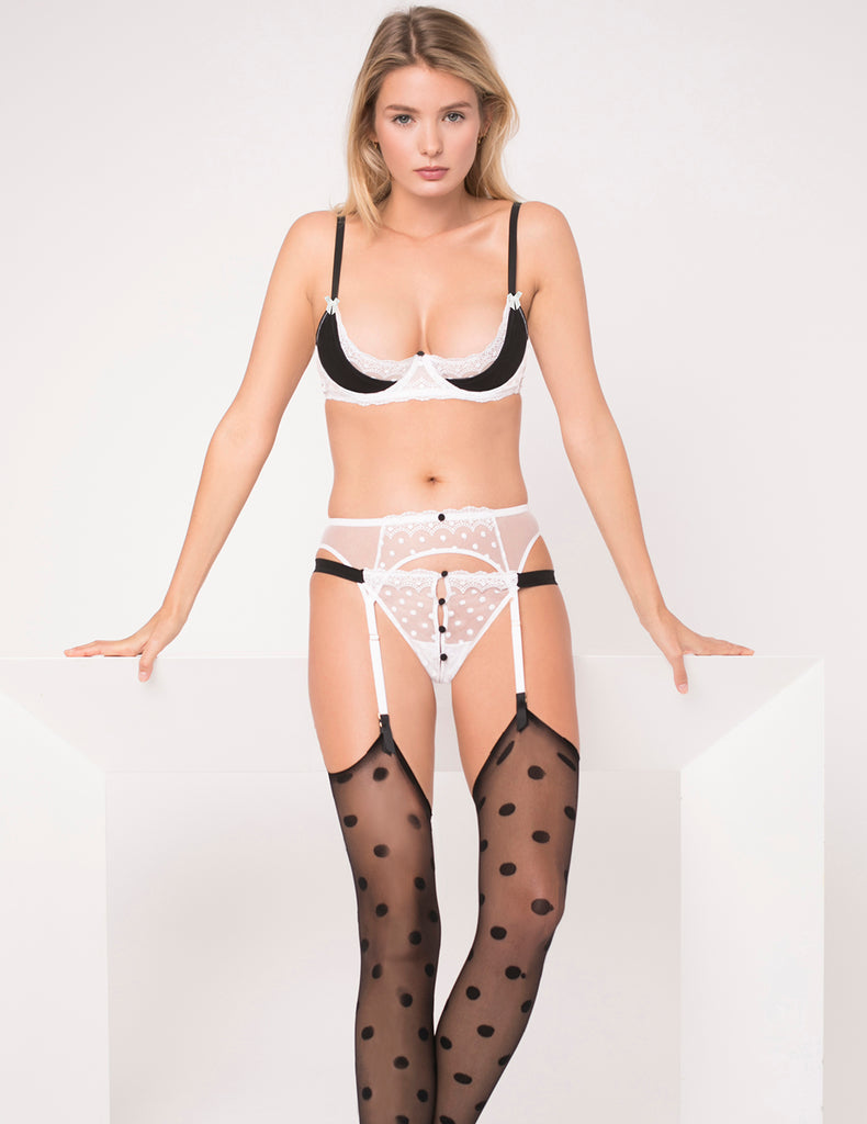 Black & White Ouvert Button Thong - Mimi Holliday Luxury Lingerie