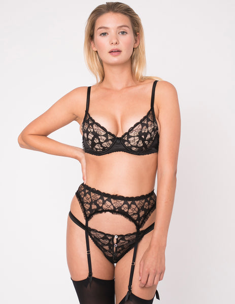 Bretelle in pizzo nero con cuori | Mimi Holliday Luxury Lingerie