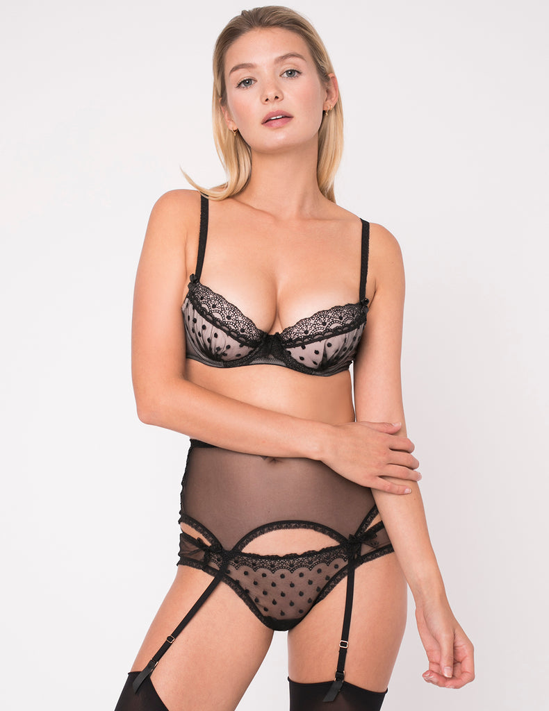Black Lace Polka Dot Brief Knickers | Mimi Holliday Sexy Undertøy