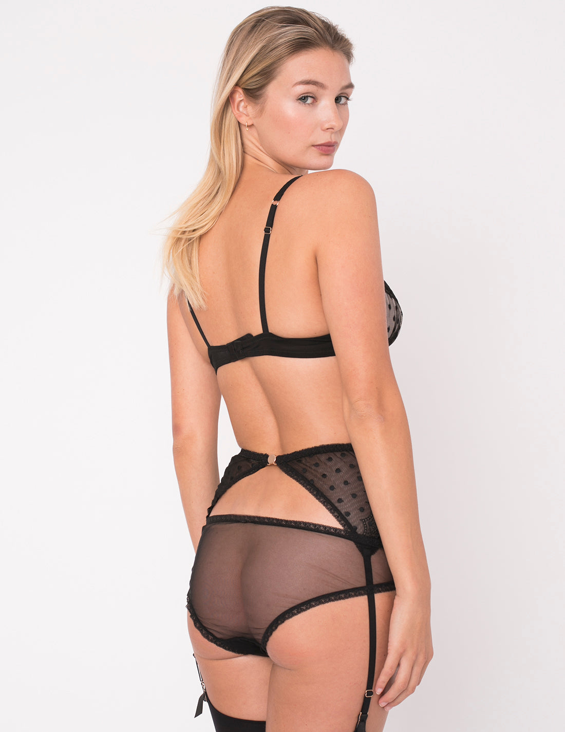 Schwarze Spitze Polka Dot Slip Slips | Mimi Holliday Luxus Dessous