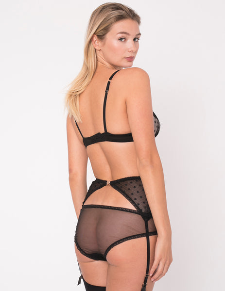 Black Lace Polka Dot Brief Knickers | Mimi Holliday Designer Undertøy