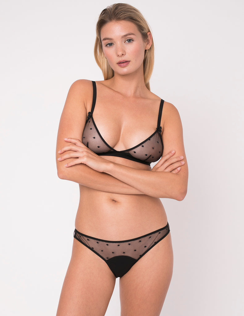 Black Polka Dot Silk Petal Knickers - Mimi Holliday Sexy Lingerie