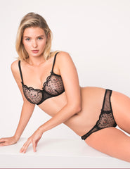 Black Lace & Cat Broderi Suspenders - Mimi Holliday Designer Lingerie
