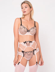 Pink & Black Lace Cat Broderi Korte Knickers - Mimi Holliday Luksus Lingeri