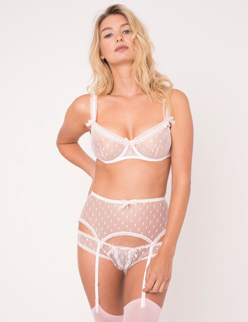 White Polka Dot & Pink Lace Suspenders- Mimi Holliday Luxury Lingerie