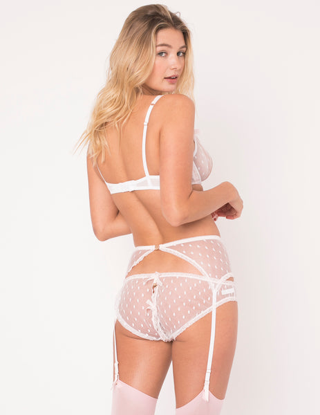 Weiß & Rosa Spitze Ouvert Open Knickers - Mimi Holliday Luxus DessousWhite Polka Dot & Pink Spitze Ouvert Schlüpfer - Mimi Holliday Luxus Dessous