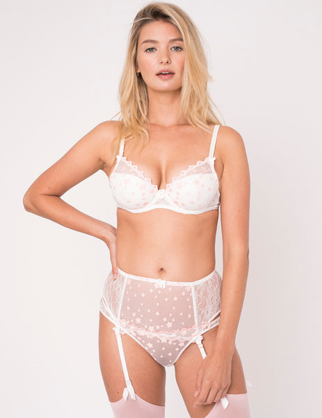 Reggiseno push-up in pizzo stellato e seta