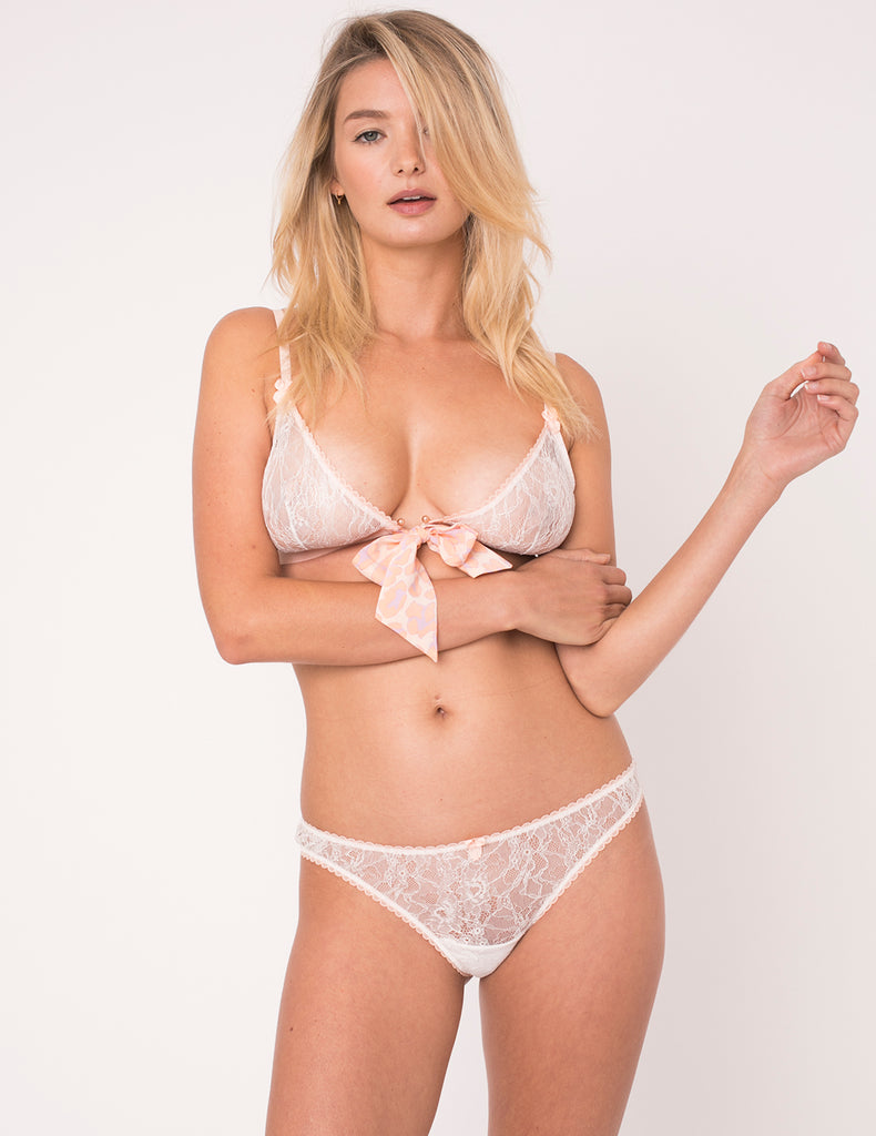 Peach Leopard Print Bow Thong - Mimi Holliday Sexy Lingerie