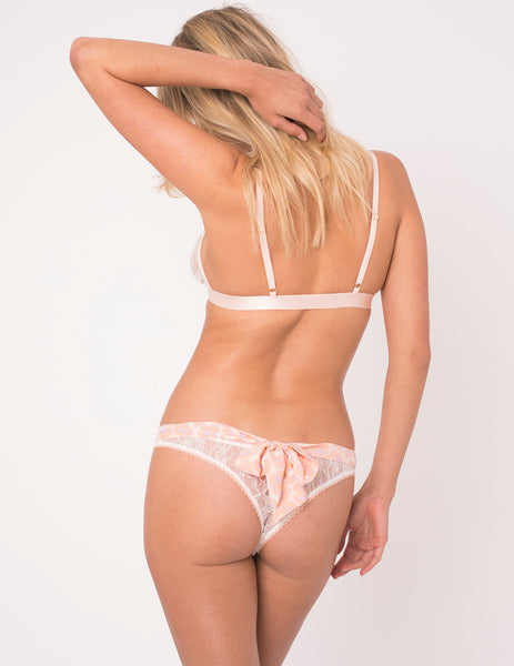 Peach Leopard Print Bow Thong - Mimi Holliday Luxury Lingerie