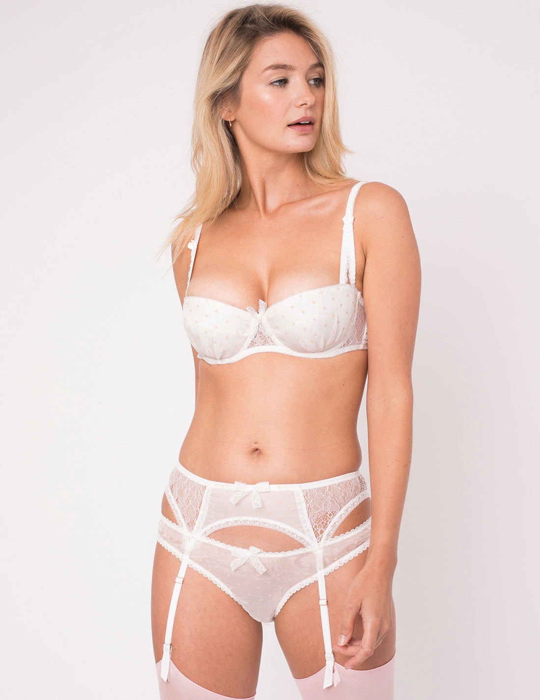 White & Pink Hearts Silk Balcony Bra - Mimi Holliday Luxury Lingerie