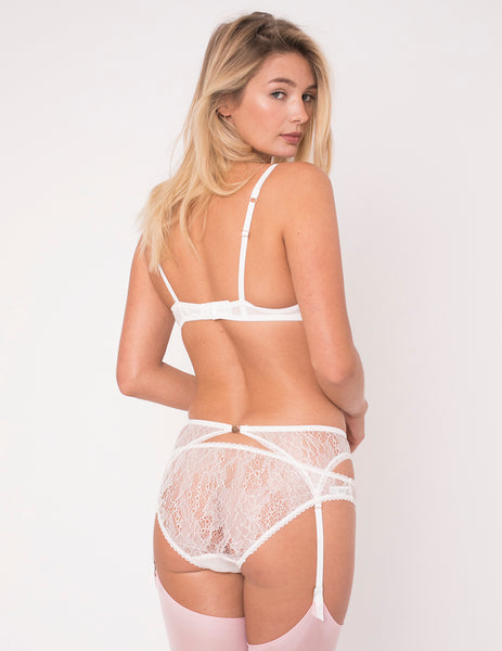 Hvid & Pink Hearts Silk Brief Knickers - Mimi Holliday Luksus Undertøj