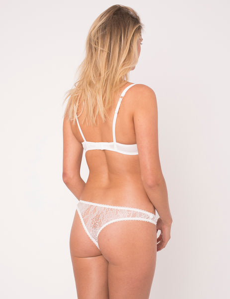 Hvid & Pink Hearts Silk Thong - Mimi Holliday Designer Undertøj