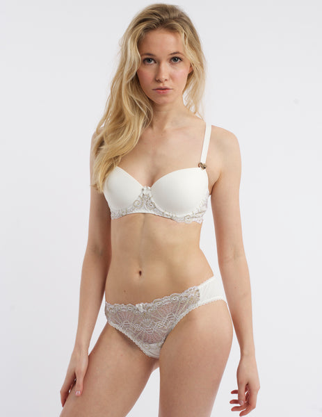 Weiß & Gold Lace Geformter BH | Mimi Holliday Sexy Dessous