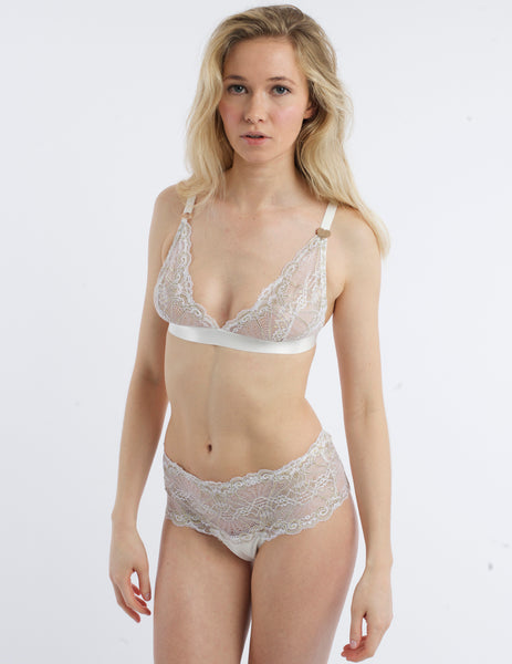 White & Gold Dantella Triangle Bra. | Mimi Holliday luksoze femrash