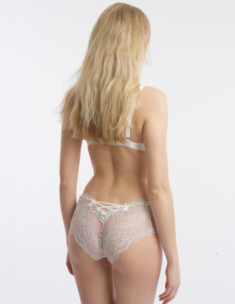 White & Gold Lace High Waist Knickers | Mimi Holliday Sexy Lingerie