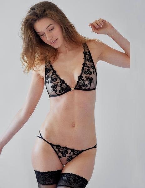 Black Floral Lace Triangle Bra | Mimi Holliday Designer Lingerie