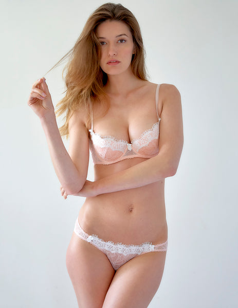 Soutien-gorge push-up rembourré en dentelle rose | Mimi Holliday Designer Lingerie