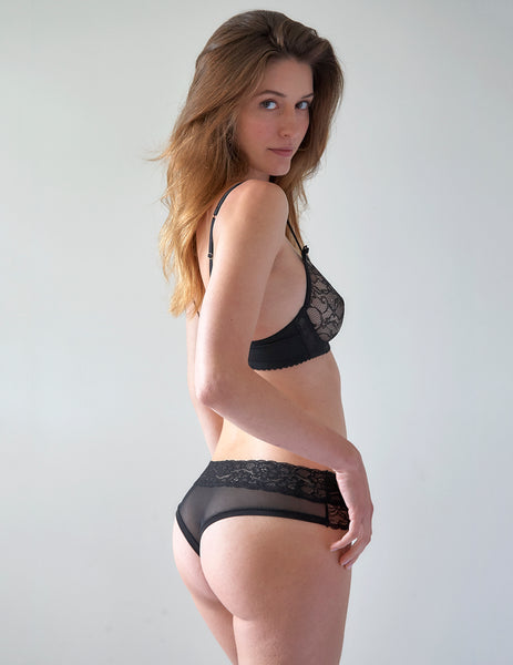 Negro Lace Brief Pantalones | Mimi Holliday Diseñador Lencería