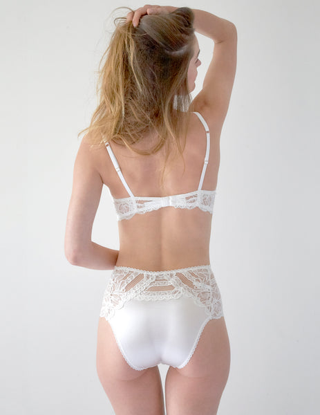 Knickers a vita alta in pizzo floreale bianco | Mimi Holliday Designer Lingerie