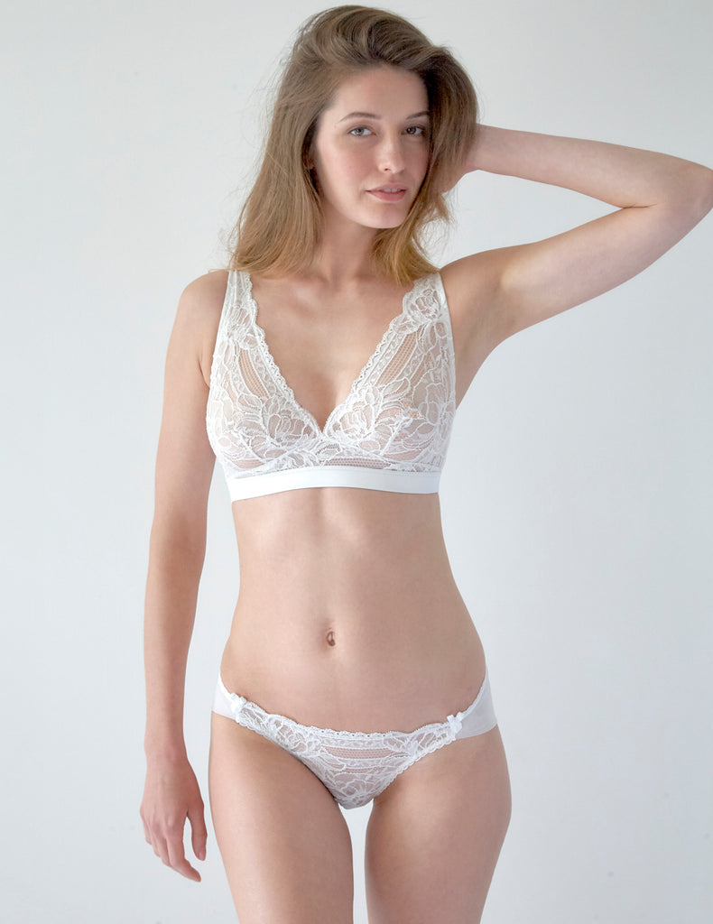 White Lace Triko Triangle Bra. | Mimi Holliday Sexy Lingerie