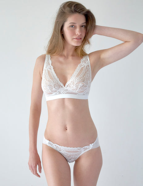 White Floral Lace Triangle Bra | Mimi Holliday Sexy Lingerie