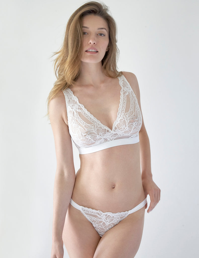 White Floral Lace Hipster Thong | Mimi Holliday Luxury Lingerie