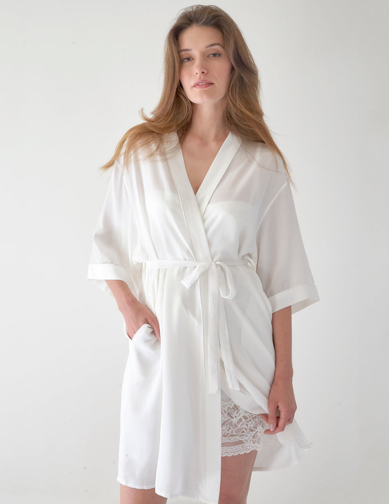 White Luxury Silk Dressing Gown Mojito Beau Mimi Holliday