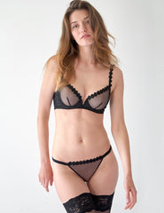 Schwarz Mesh Tüll Ouvert Open Knickers | Mimi Holliday Sexy Dessous