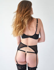 Black Mesh Tulle Suspenders | Mimi Holliday Sexy Undertøy
