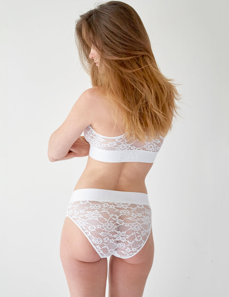 Hvit Lace Comfort Kort Knickers | Mimi Holliday Luxury Lingerie