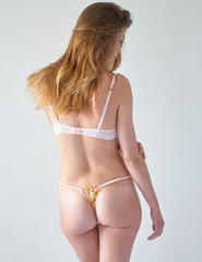 Rosa Blumenspitze Hipster Thong | Mimi Holliday Sexy Dessous