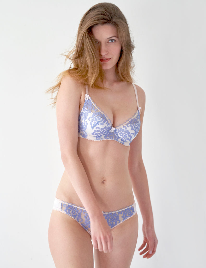 Blue Floral Lace Padded Push Up Bra | Mimi Holliday Designer Lingerie