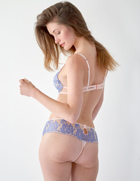 Blue Floral Lace Boyshort -nousut | Mimi Holliday Luxury Alusvaatteet