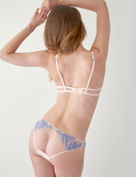Blue Floral Lace Short Knickers | Mimi Holliday Designer Lingerie