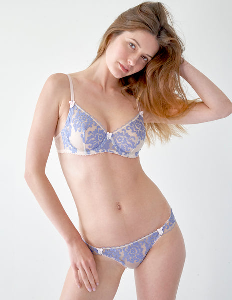 Blue Floral Lace Comfort BH | Mimi Holliday Luxus Dessous