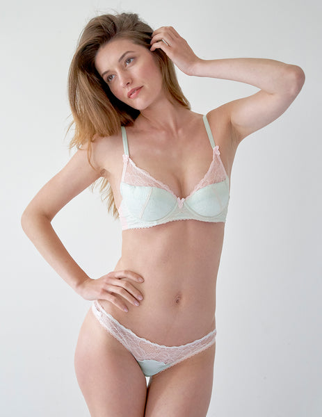 Pink Lace & Green Silk Padded Push-Up Bra | Mimi Holliday Undertøy