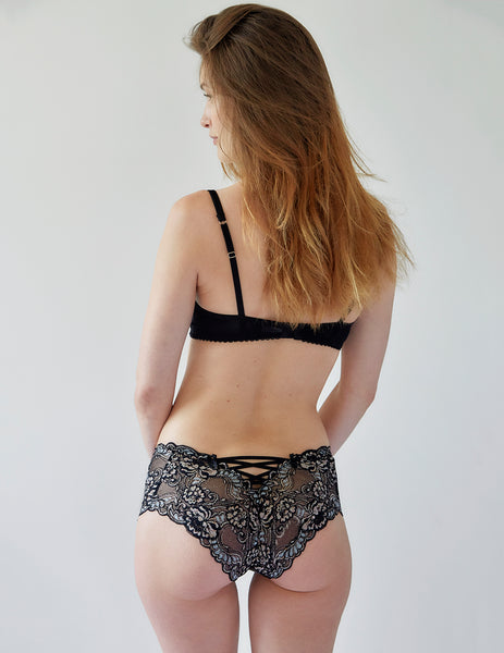 Black Floral Lace High Waist Knickers | Mimi Holliday Designer Lingerie