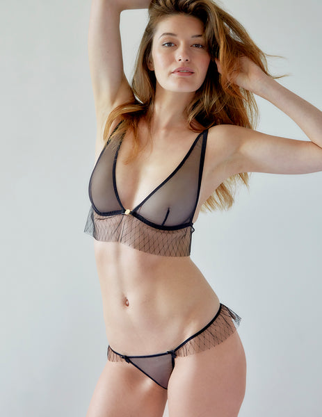 Black Frilly Lace Triangle Bra | Mimi Holliday Luxury Lingerie