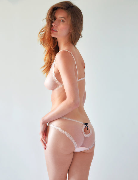 Pink Lace Peep Back Brief Knickers | Mimi Holliday Lingerie de luxo