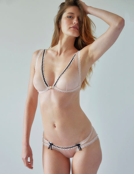 Soutien-gorge triangle à attaches en dentelle rose | Mimi Holliday Luxury Lingerie