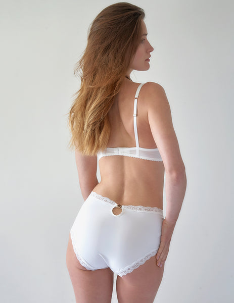 White Lace Swan High Waisted Knickers | Mimi Holliday Sexig Underkläder