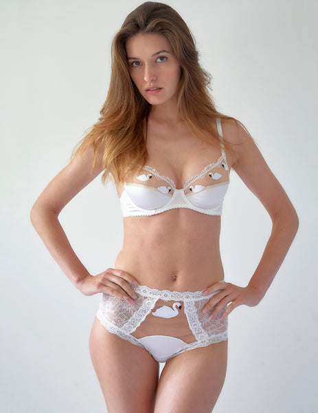 White Lace Swan High Waisted Knickers | Mimi Holliday Luxury Lingerie